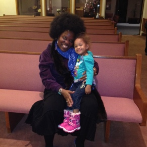 Me & my littlest Stampede fan, Kira, after singing Negro spirituals etc in the Circle