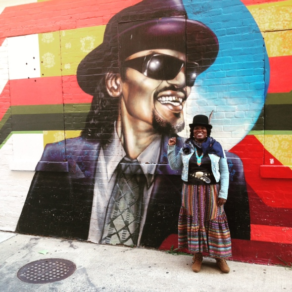 Godfather of Go-Go Chuck Brown (RIP) & I upon Ben Ali Way, outside the original Ben's Chili Bowl @ U Street, Washington DC