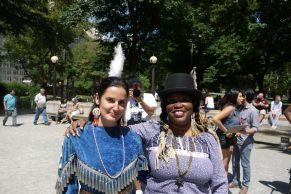 With Metis/Cree/Lakota actress Tanis Parenteau mid-project, near Columbus Circle
